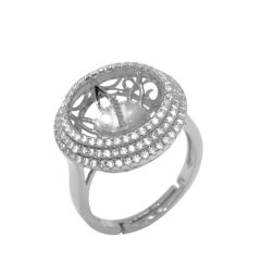 925 Silver Ring Setting with 16 CZ Diamonds Surrounded,  Suitable Pearl Size 13-14mm