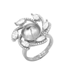 Romantic ring setting with cubic zirconia diamond surrounded adjustable size