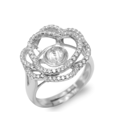 Unique Flower 925 Sterling Silver Ring Mounting Adjustable Sized no pearl