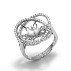Gorgeous 925 Sterling Silver Filigree Adjustable Floral Flower  Ring Setting/finding