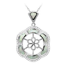 Flower Design 925 Sterling Silver Pendant Setting with Crystal rhinestone