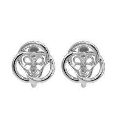 2Pcs 925 Sterling Silver Flower Ear Wire Earring Pearl Connector/Findings