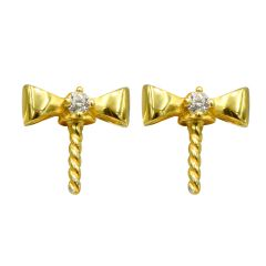 High Luster 925 Silver Gold color Earring Stud Round Pearl Earring finding /mounting with Crystal for Women