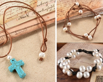 Leather Pearl Necklaces